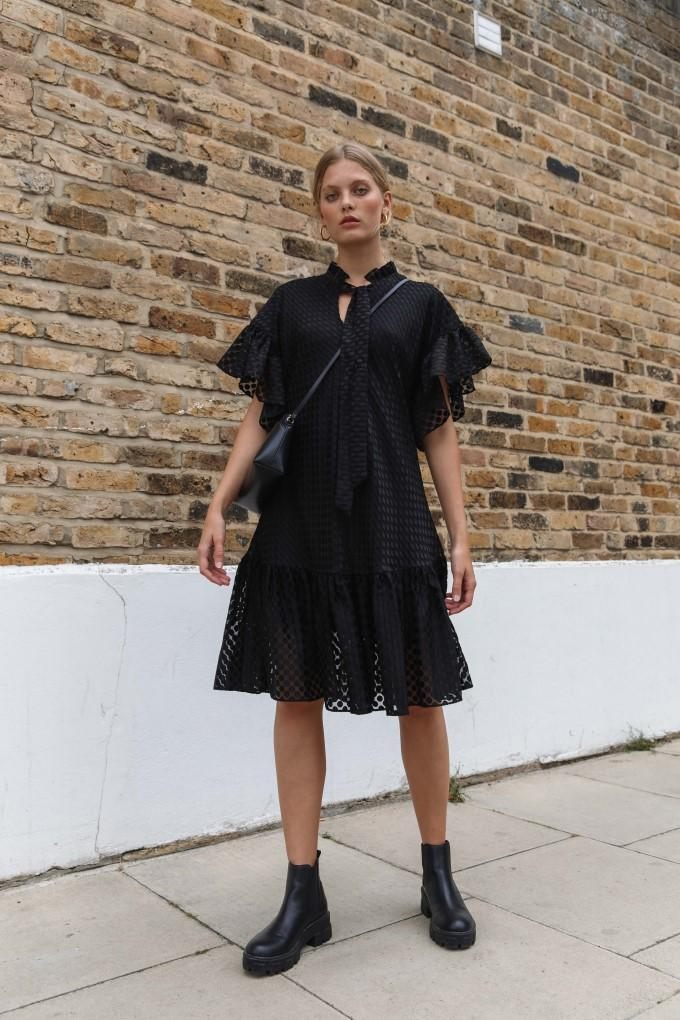 Load image into Gallery viewer, Palones Black Spot Mesh Ruffle Detail Dress
