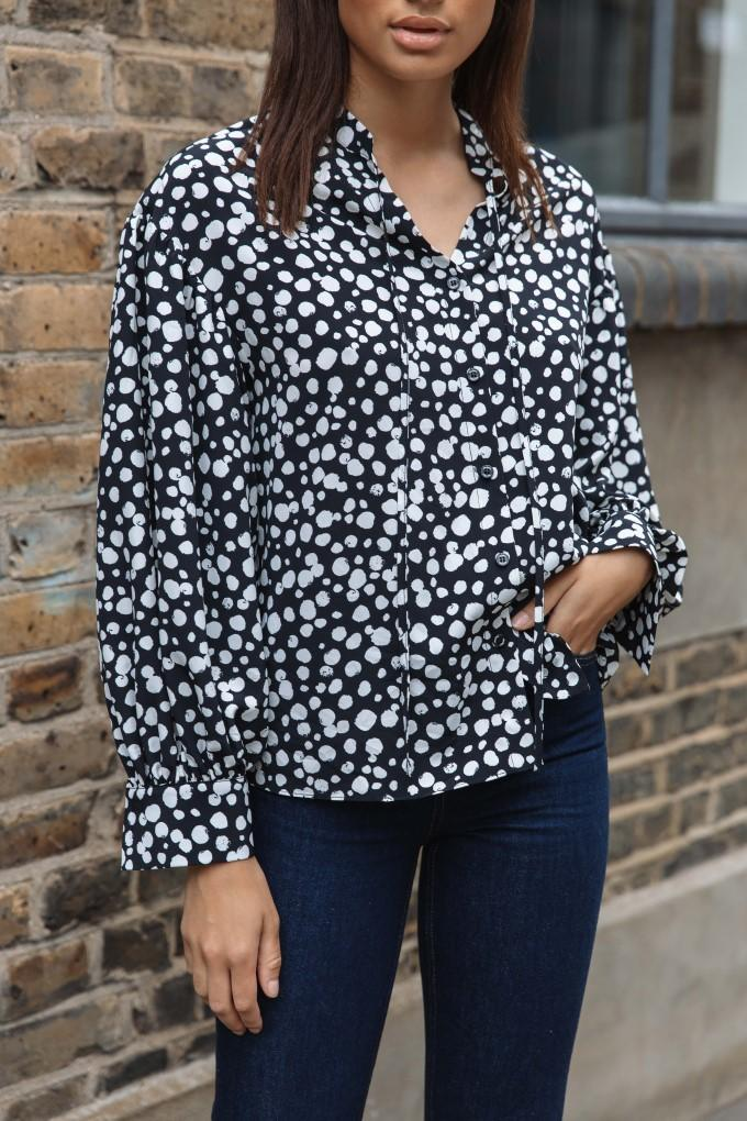 Load image into Gallery viewer, Palones Black with White Spot Tie Neck Blouse