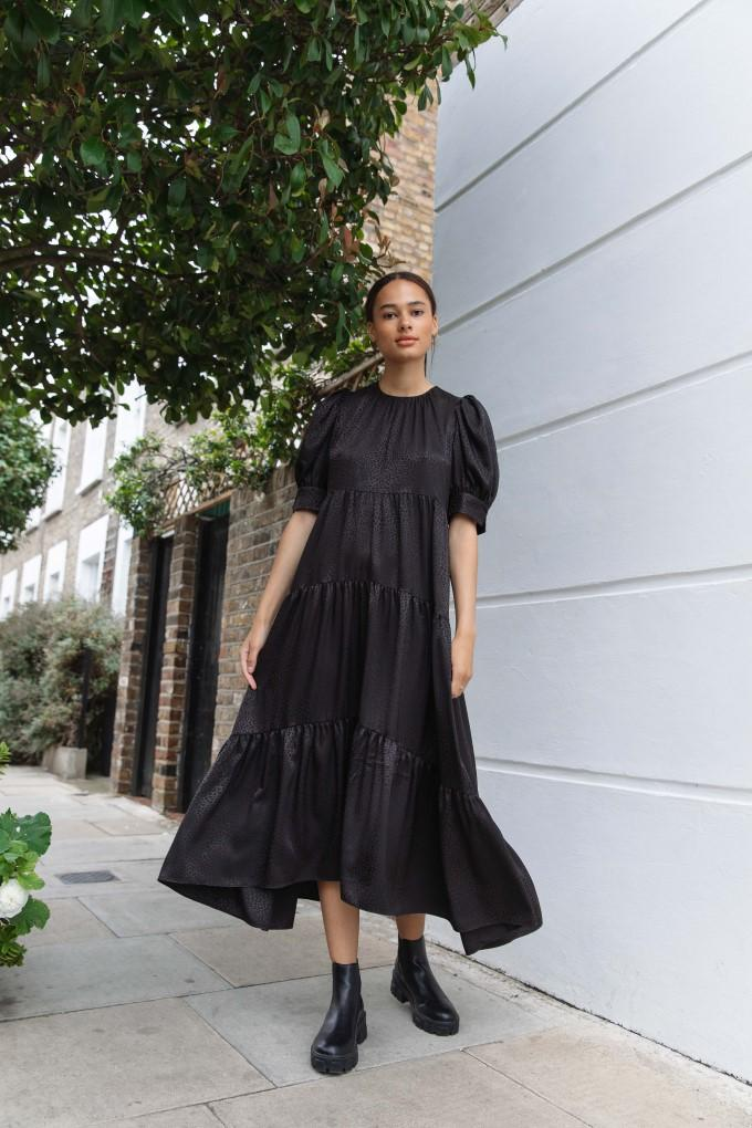 Palones Black Tiered Satin Puff Sleeve Dress