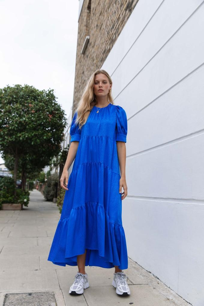 Load image into Gallery viewer, Palones Cobalt Tiered Satin Puff Sleeve Dress