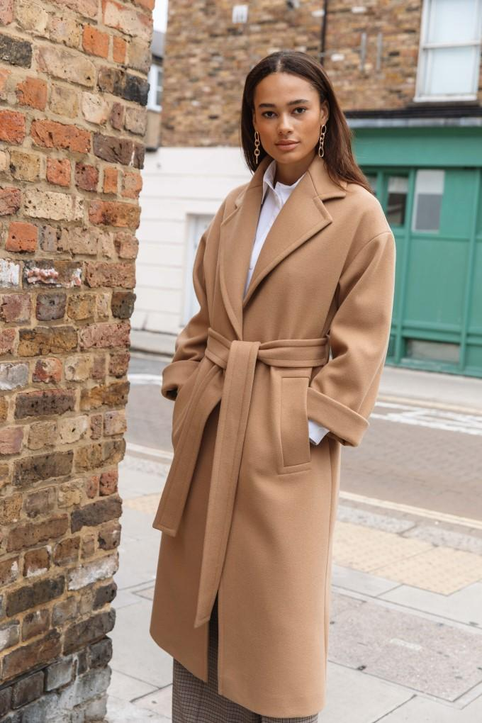 Palones Topstitch Belted Robe Coat in Tan