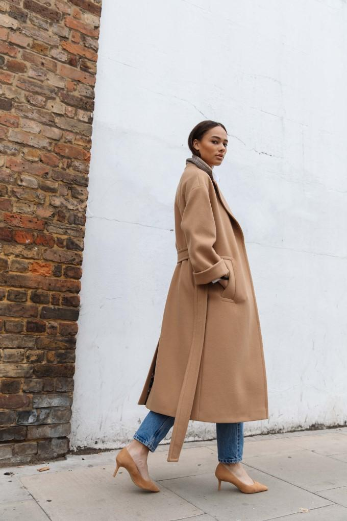 Load image into Gallery viewer, Palones Topstitch Belted Robe Coat in Tan