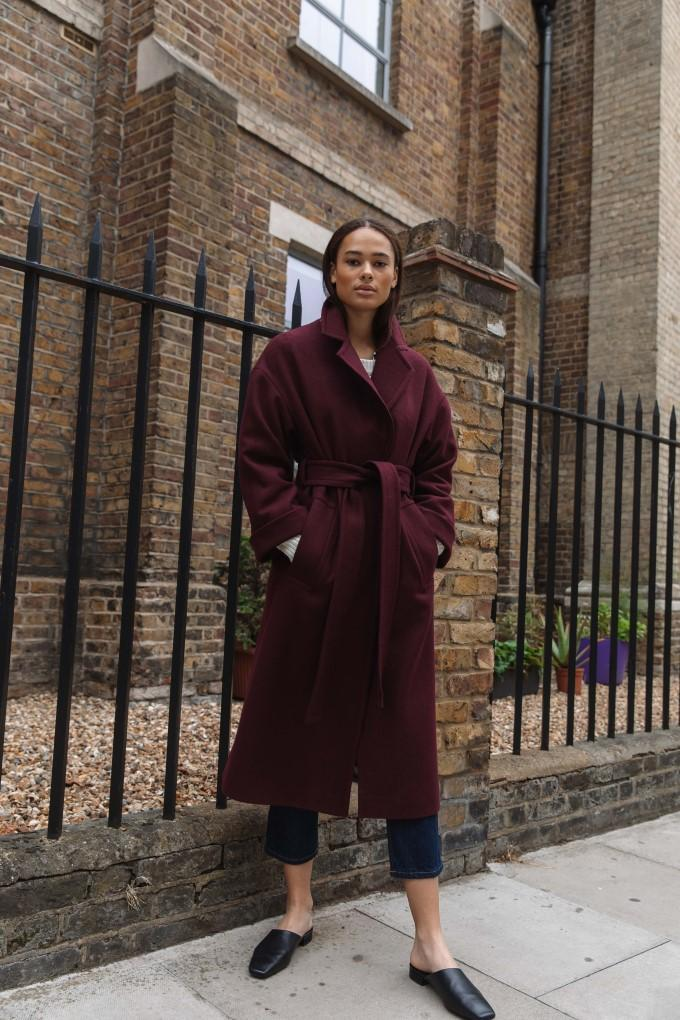 Palones Topstitch Belted Robe Coat in Burgundy