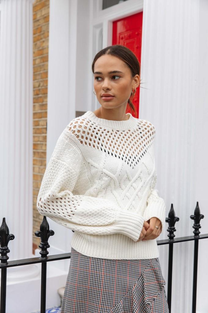 Load image into Gallery viewer, Palones Basket Weave Knit Jumper in white