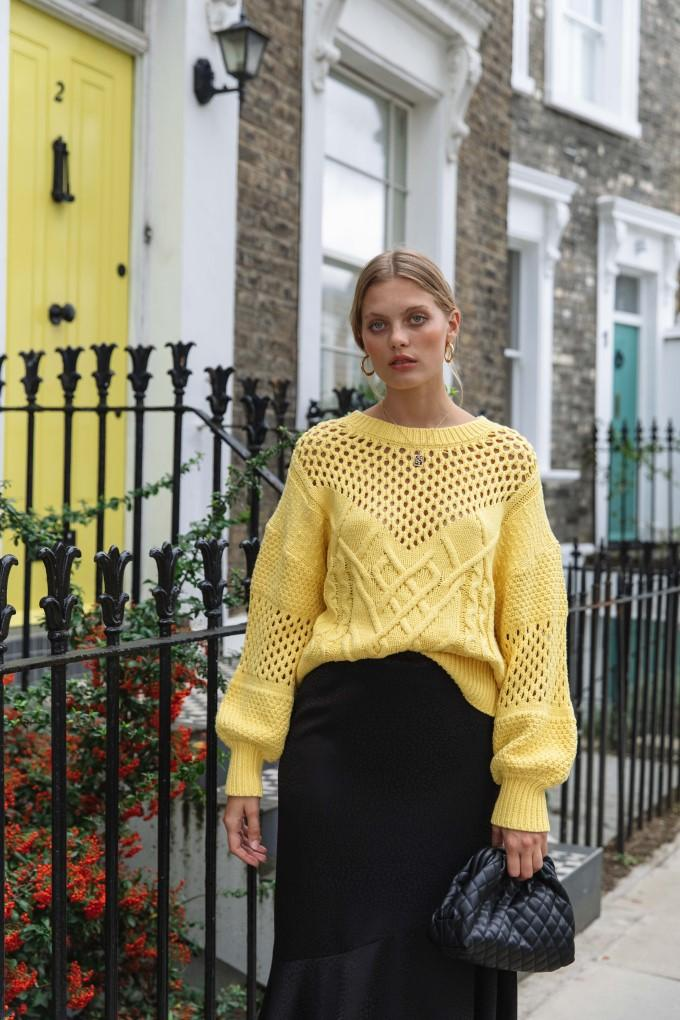Palones Basket Weave Knit Jumper in yellow