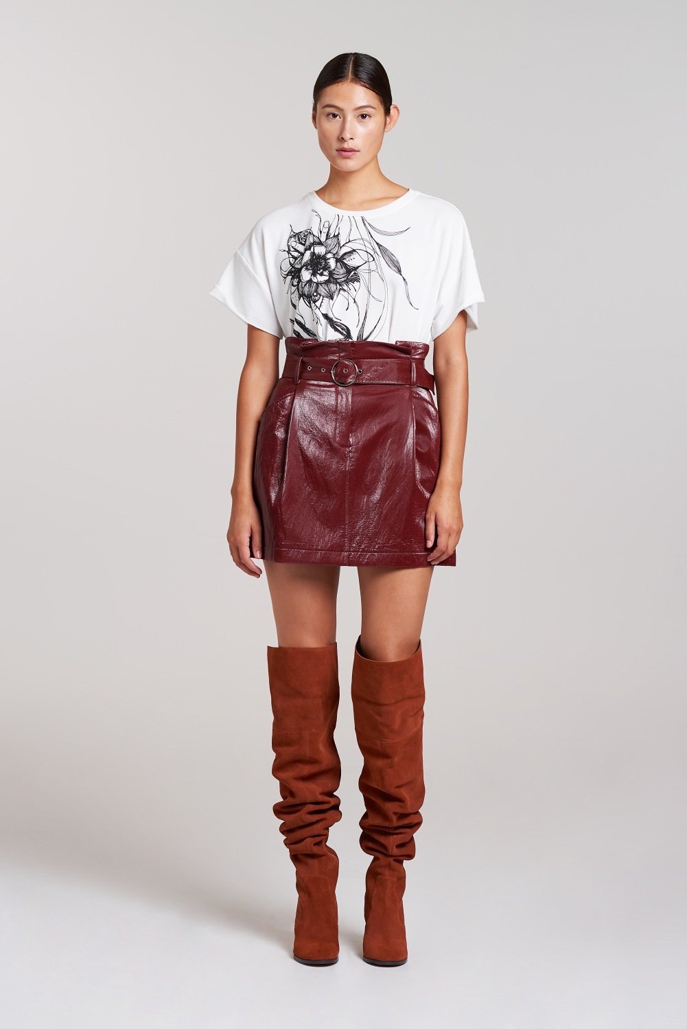 Palones Burgundy PU High Waisted Mini Skirt
