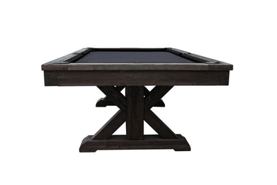 Brazos River Slate Pool Table / Leather Drop Pockets, Weathered Black
