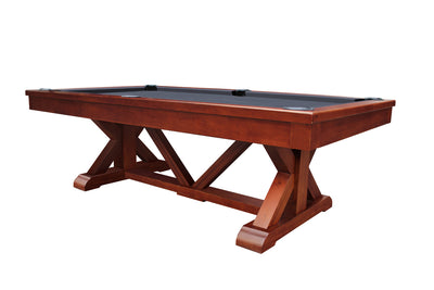 Brazos River Slate Pool Table / Leather Drop Pockets, Chestnut