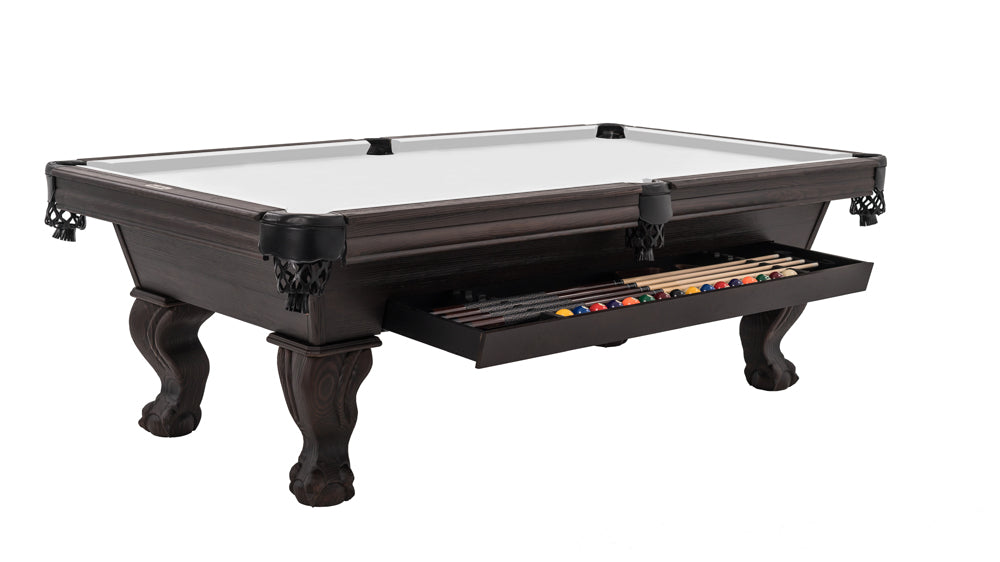 Dixon Pool Table with Storage Drawer in Smokehouse Fir