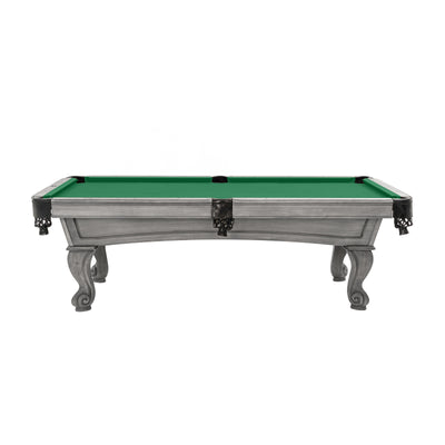 The Resolute Pool Table, Silver Mist with Rams Horn Legs
