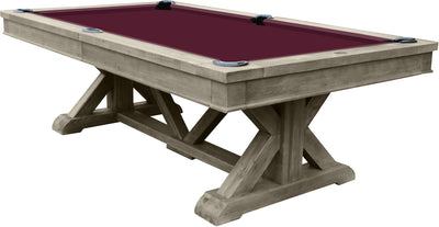 Brazos River Slate Pool Table / Leather Drop Pockets, Weathered Grey