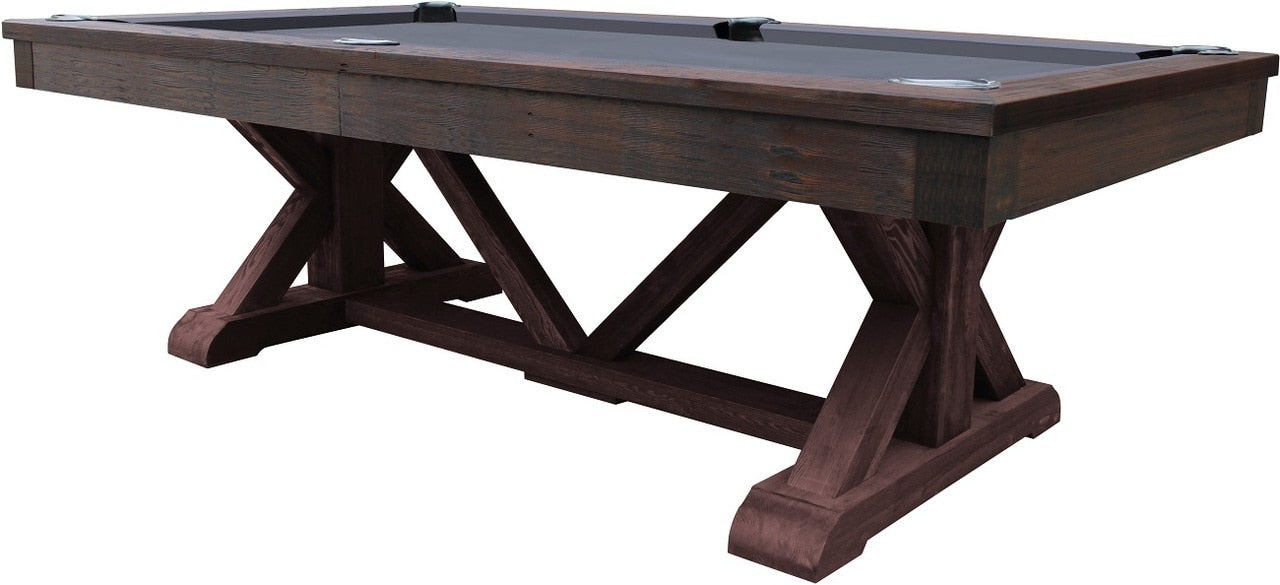 Brazos River Slate Pool Table / Leather Drop Pockets, Weathered Brown