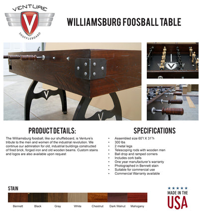Williamsburg Foosball Table