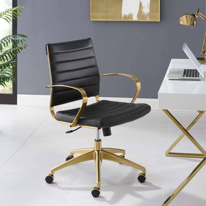 Jive Gold Stainless Steel Midback Office Chair - Voguish Furniture