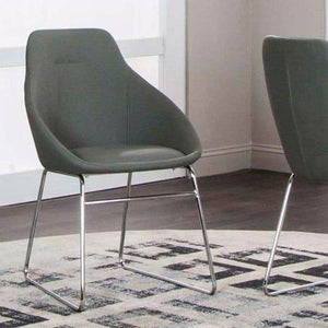 NOBEL Charcoal Polyurethane/Chrome Side Chair - Voguish Furniture