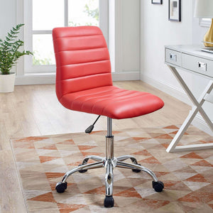 Ripple Armless Mid Back Vinyl Office Chair - Voguish Furniture