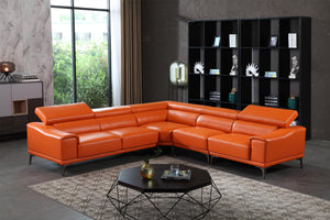 S-1843 Full Grain Italian Leather Sectional - Voguish Furniture
