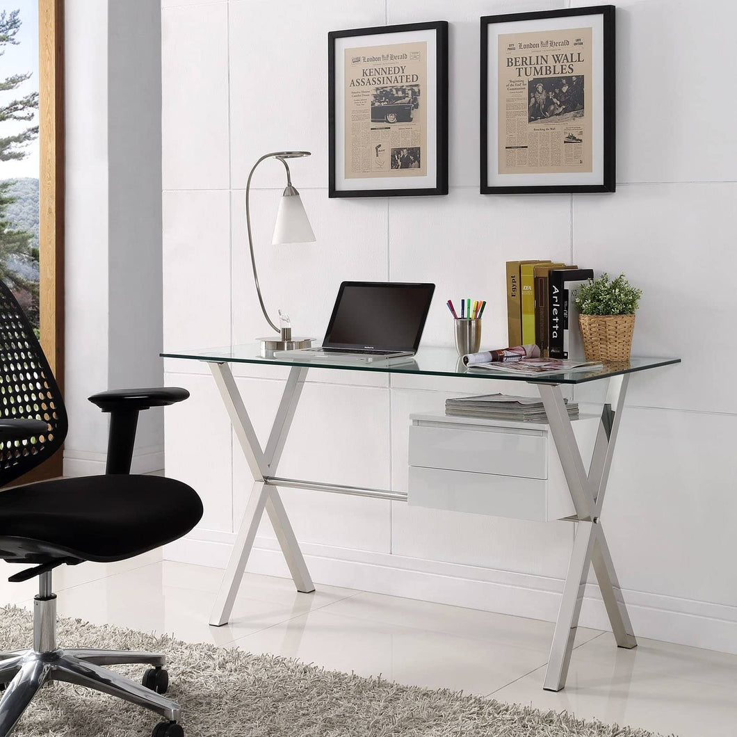 Stasis Glass Top Office Desk - Voguish Furniture