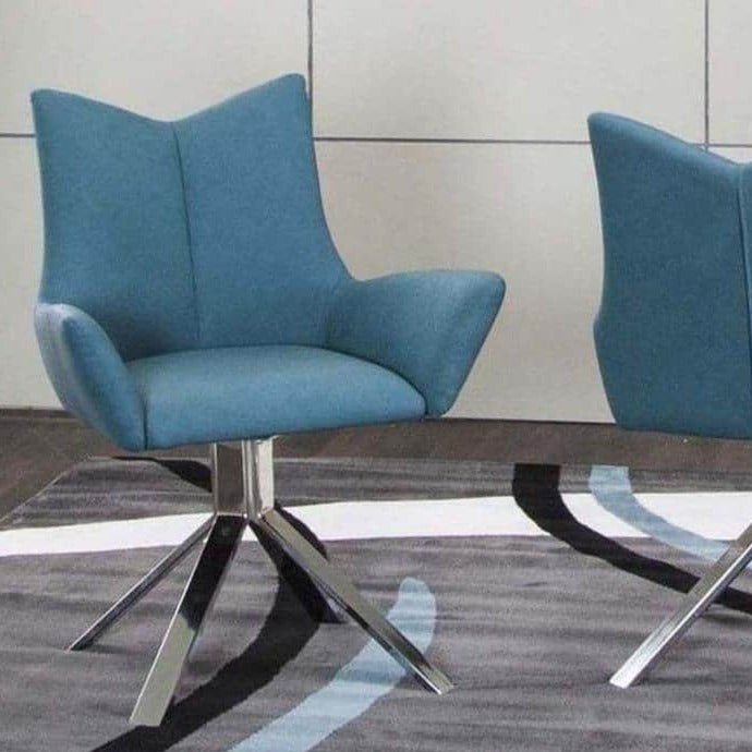 Turquoise Polyurethane/Chrome Swivel Arm Chair - Voguish Furniture