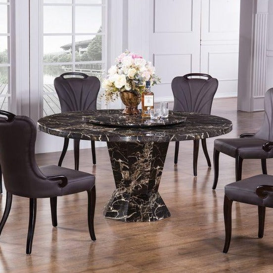 Faux Marble Top Round Dining Table(3) - Voguish Furniture
