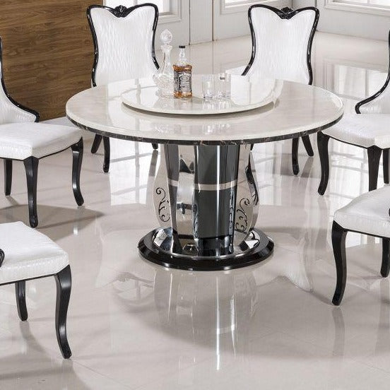 Faux Marble Top Round Dining Table(1) - Voguish Furniture