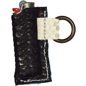 DarqMatterDesign Leather Goods Black / Fits All Standard Size Bic Lighters Enki (Black&White Draco)