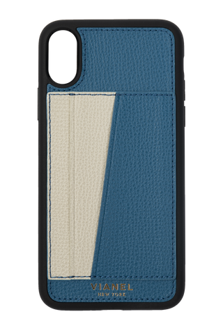 Card Holder iPhone X and Xs Flex Case - Calfskin - Blue Creme