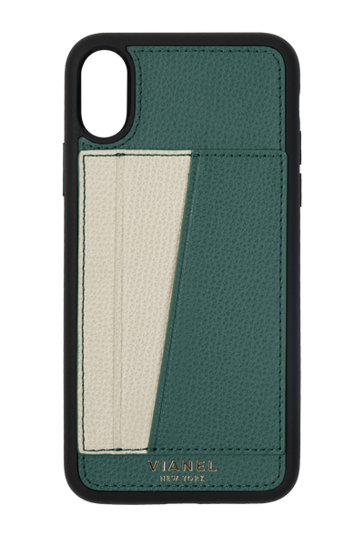 Card Holder iPhone X and Xs Flex Case - Calfskin - Avocado Creme