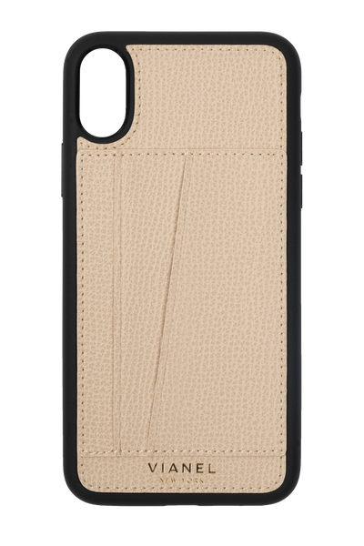 Card Holder iPhone X and Xs Flex Case - Calfskin - Creme