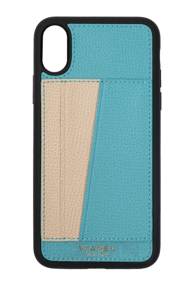 Card Holder iPhone X and Xs Flex Case - Calfskin - Turq Creme