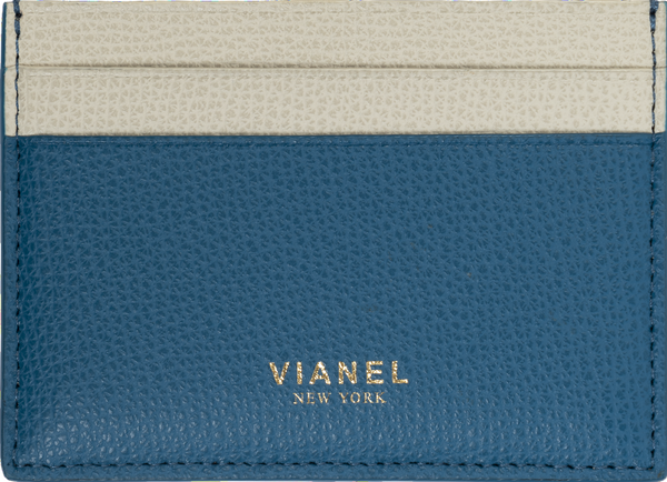 V3 Card Holder - Calfskin - Blue Creme