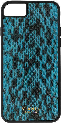 iPhone 8 Flex Case - Snake - Turquoise With Black