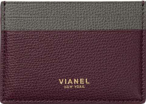 V3 Card Holder - Calfskin - Oxblood Grey