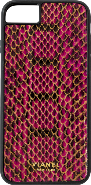 iPhone 8 Flex Case - Snake - Fuchsia With Black
