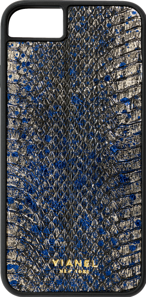 iPhone 8 Flex Case - Snake - Silver With Blue