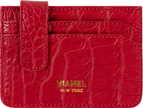 V40 Card Holder - Croc - Red