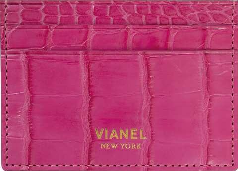 V3 Card Holder - Croc - Fuchsia