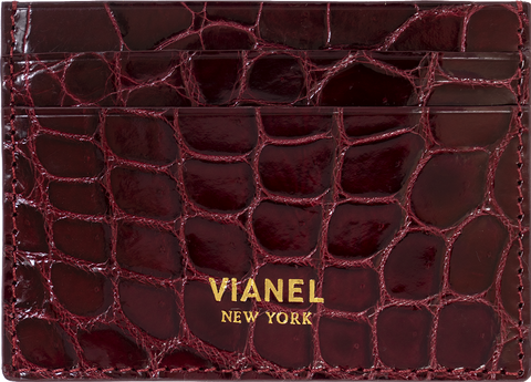 V3 Card Holder - Croc - Wine