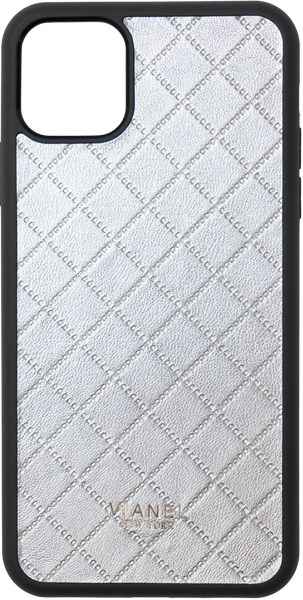 iPhone 11 Pro MAX Flex Case - Lambskin - Silver Quilted