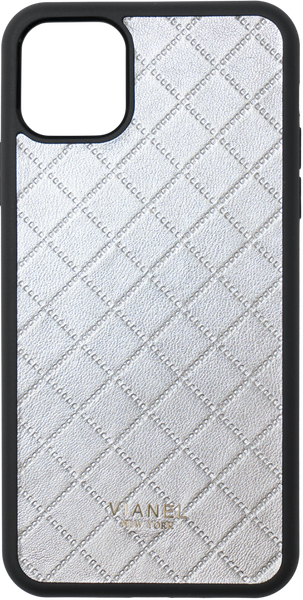 iPhone 11 Flex Case - Lambskin - Silver Quilted
