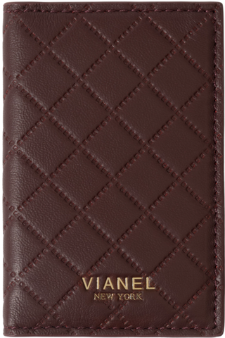 V2 Folding Card Holder - Lambskin - Wine Quilted