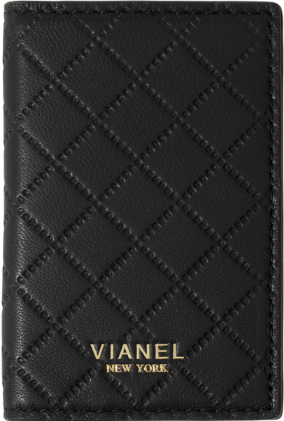 V2 Folding Card Holder - Lambskin - Black Quilted