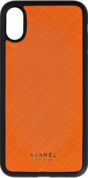 iPhone X and Xs Flex Case - Lambskin - Orange Quilted