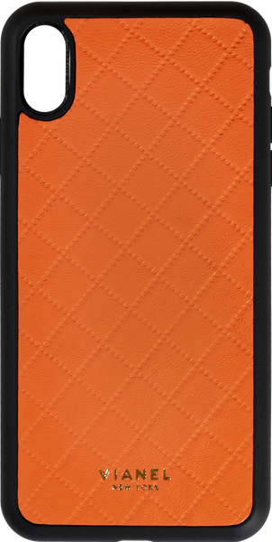 iPhone Xs MAX Flex Case - Lambskin - Orange Quilted