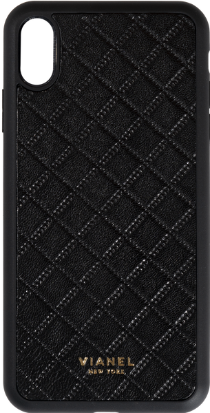 iPhone Xs MAX Flex Case - Lambskin - Black Quilted