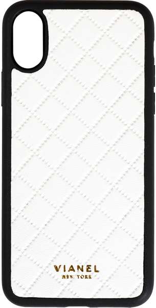 iPhone X and Xs Flex Case - Lambskin - White Quilted