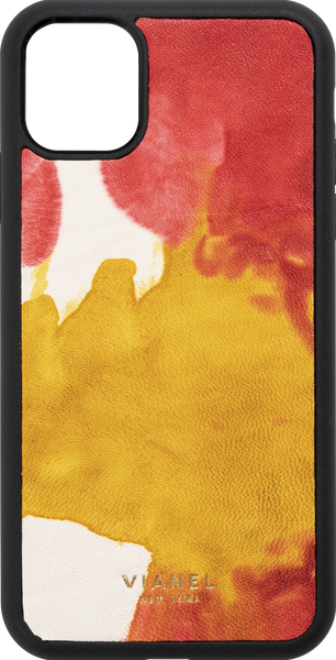 iPhone 11 Pro MAX Flex Case - Calfskin - Yellow Red Tie Dye