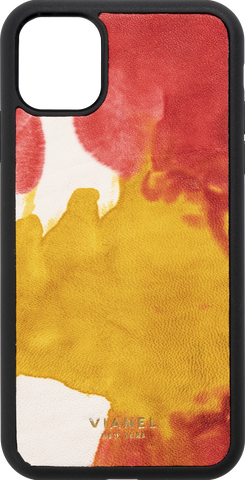 Calfskin / Yellow Red Tie Dye / More than 10 letters