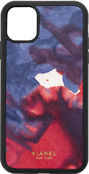 iPhone 11 Pro MAX Flex Case - Calfskin - Blue Red Tie Dye