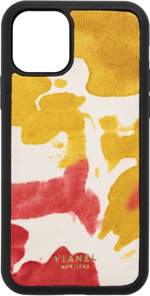 Calfskin / Yellow Red Tie Dye | Front